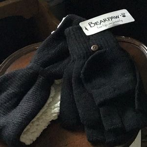 Bearpaw  fingerless gloves & fleece headband